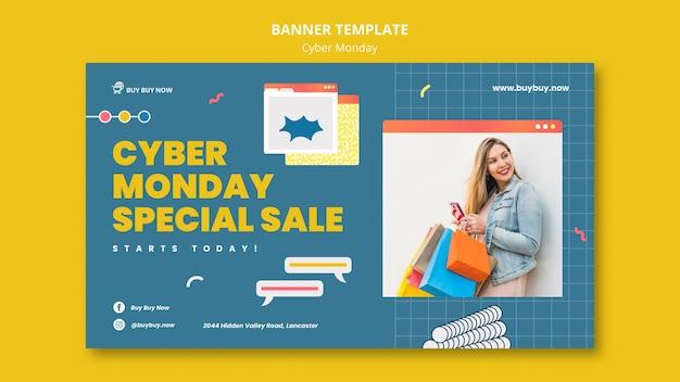 Kreatywny szablon transparentu sprzedaży cyber poniedziałek