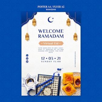 Kreatywny szablon wydruku ramadan