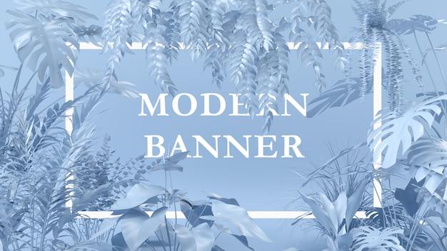 Kreatywny układ niebieski kolor wykonany z roślin z kartką papieru. koncepcja natury.