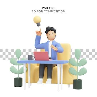 Kręcone włosy mężczyzna pracujący siedzi na krześle używając laptopa freelancer ilustracja 3d premium psd