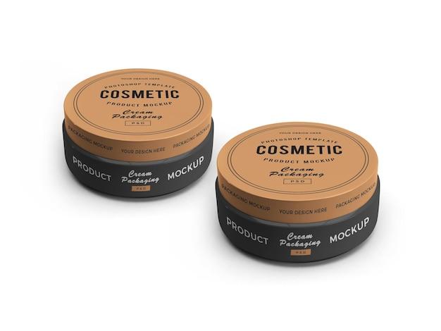 Kremowy słoik kosmetyczny 3d makieta projekt