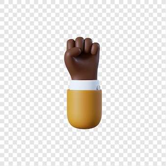 Kreskówka afro-amerykański biznesmen ręka pięść gest