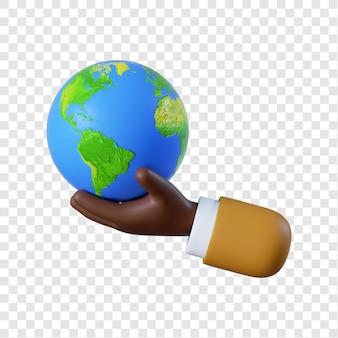 Kreskówka afro-amerykański biznesmen ręka trzyma kulę ziemską