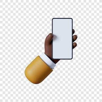 Kreskówka biznesmen afroamerykański ręka z smartphone