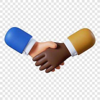 Kreskówka gest uścisk dłoni afroamerykańskiego biznesmena