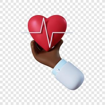 Kreskówka lekarz afroamerykański ręka z sercem