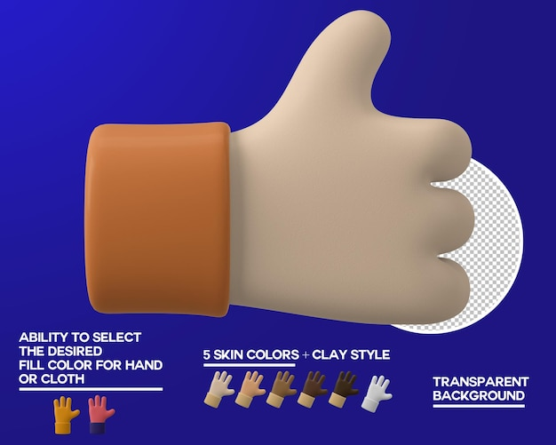 Kreskówka ręka kciuki do góry gest