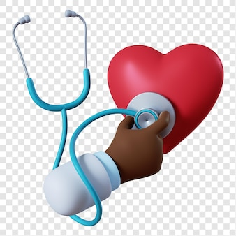 Kreskówka ręka lekarza afroamerykańskiego ze stetoskopem