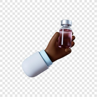 Kreskówka ręka lekarza afroamerykańskiego ze szczepionką