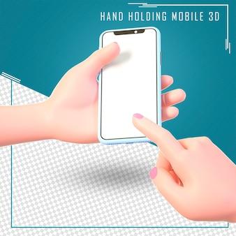Kreskówka ręka trzyma telefon na białym tle