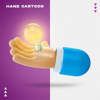 Kreskówka ręka w renderowaniu 3d na białym tle