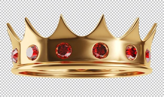 Królewska złota korona z klejnotami na białym tle renderowania 3d