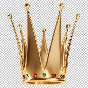 Królowe złote korony z klejnotami na białym tle renderowania 3d