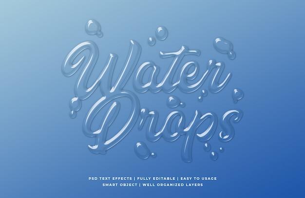Kropla wody 3d efekt stylu tekst szablon