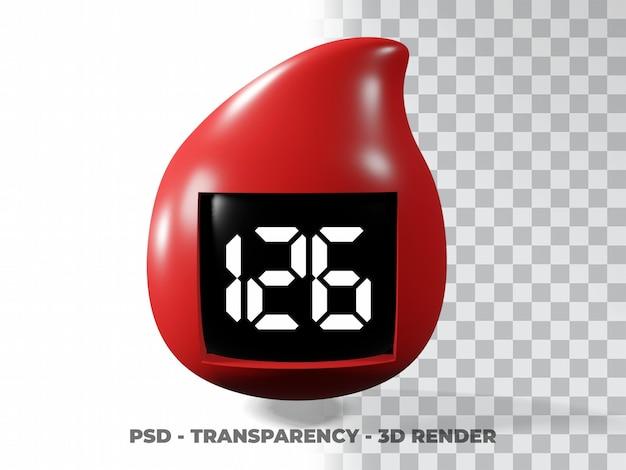 Krople krwi ilustracja światowy dzień cukrzycy, dzień dawcy krwi modelowanie 3d z przezroczystym tłem