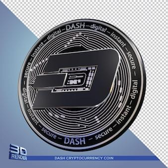 Kryptowaluta dash czarnych monet renderowania 3d na białym tle
