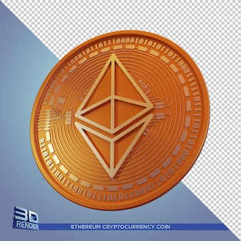 Kryptowaluta złota ethereum coin renderowania 3d na białym tle