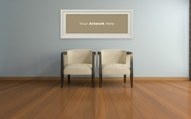 Krzesła wewnętrzne do salonu i pusta ramka na zdjęcia makieta