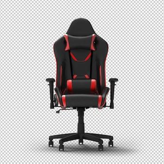 Krzesło do gier 3d racing na białym tle. przezroczysta ściana. przedni widok.