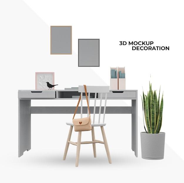 Krzesło i biurko makieta dekoracji wnętrz