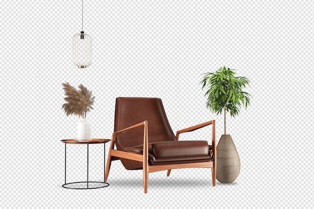 Krzesło i nowoczesne meble w renderingu 3d