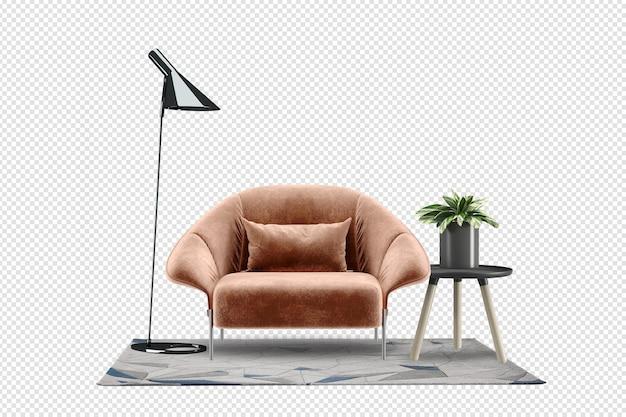 Krzesło i nowoczesne meble w renderowaniu 3d