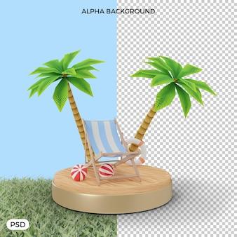 Krzesło plażowe na piasku z palmą 3d render
