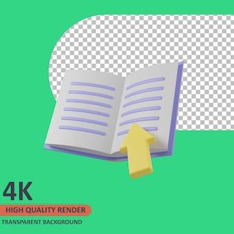 Książka ilustracja ikona edukacji 3d wysokiej jakości render