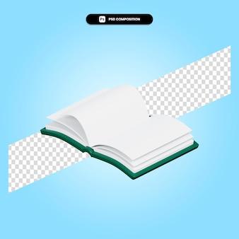 Książka ilustracja renderowania 3d na białym tle