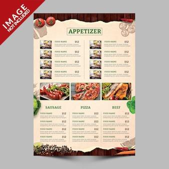 Książka menu żywności strona a