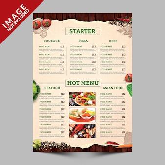 Książka menu żywności strona b