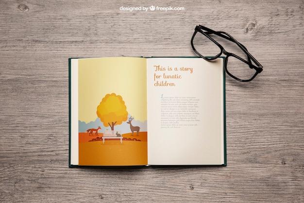 Książka mockup z okularami