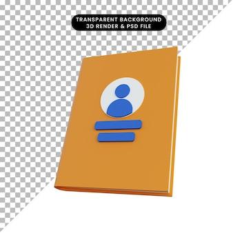 Książka telefoniczna pomarańczowy renderowania 3d