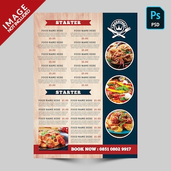 Książka żywności i napojów menu żywności