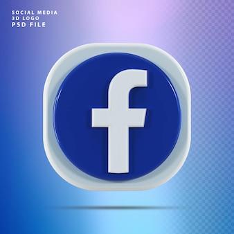 Kształt renderowania 3d ikony facebook