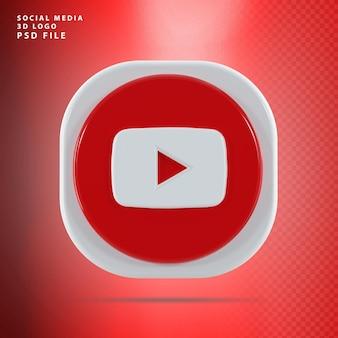 Kształt renderowania 3d ikony youtube
