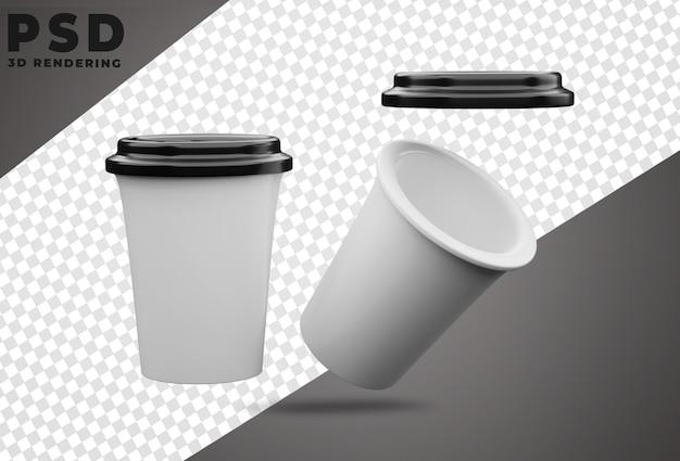 Kubek 3d realistyczny obrócony na białym tle projekt