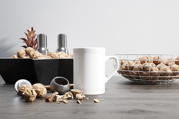 Kubek ceramiczny z surowymi orzechami i miskami