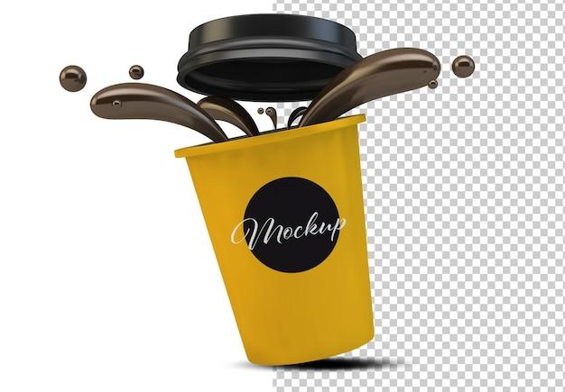 Kubek kawy na białym tle makieta