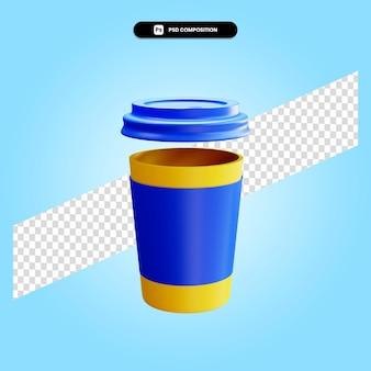 Kubek na wynos 3d render ilustracja na białym tle