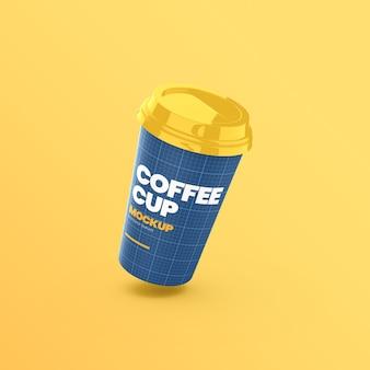 Kubek papierowy kawy pływające makieta widok z przodu