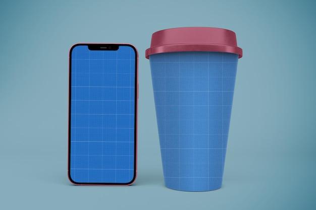 Kubki do kawy i makieta smartfona