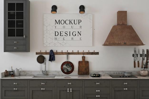 Kuchnia monochromatyczna z makietą płótna z plakatem