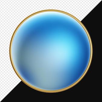 Kula gradientu 3d ze złotym pierścieniem na białym tle