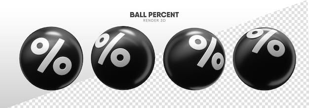 Kulki z ikonami procentów w realistycznym renderowaniu 3d