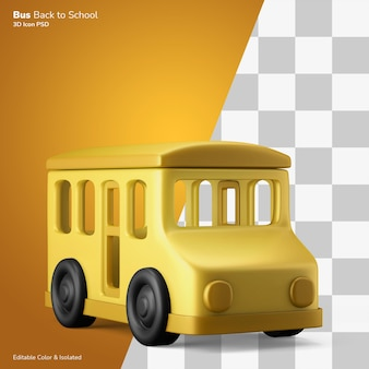 Kultowy retro autobus szkolny ilustracja 3d ikona edytowalna na białym tle