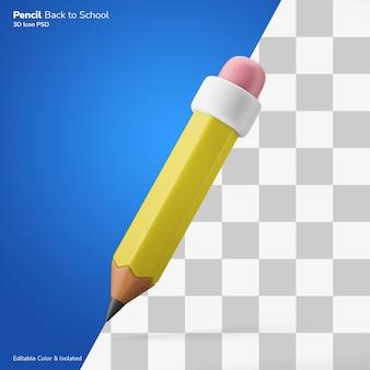 Kultowy retro ołówek symbol pisania 3d ikona renderowania edytowalna na białym tle