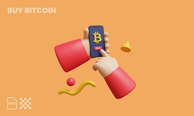 Kup kryptowalutę online z mobilną koncepcją 3d ilustracja 3d render