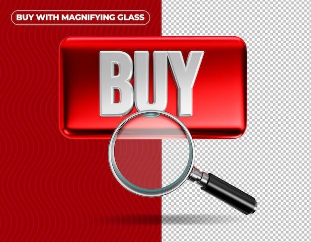 Kup szkło powiększające na czerwonym tle