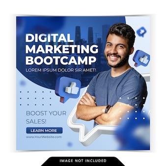Kurs marketingu cyfrowego dla szablonu postu na instagramie w mediach społecznościowych